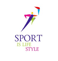 Sport colorful stick figure vector