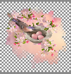Spring apple blossom and bird vector