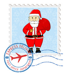 Stamp with santa claus and round postmark vector