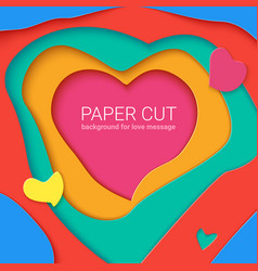 templates with paper cut in shapes of heart vector image