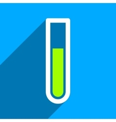 Test Tube Flat Square Icon with Long Shadow vector image
