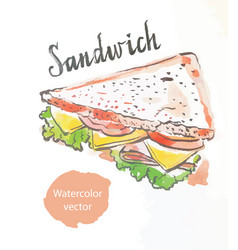 Triangular sandwich watercolor vector