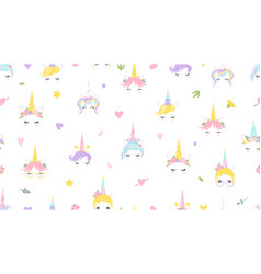 Unicorn faces pattern cute magic background vector