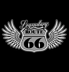 vintage emblem route 66 with wings vector image