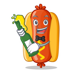 With beer hot dog cartoon character vector