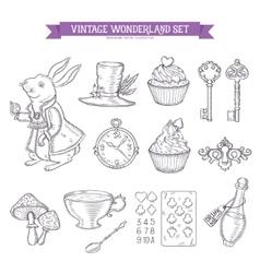 wonderland hand drawn set design elements vector image