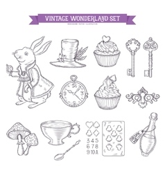 Wonderland hand drawn set of design elements vector image