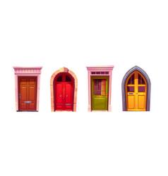 Wooden front doors with stone doorway vector