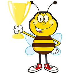 Bumble bee cartoon holding a trophy vector