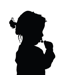 child with lollipop sweet art silhouette vector image