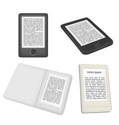 e-book reader or e-reader icon set vector image
