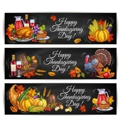 Happy thanksgiving day greeting banners vector