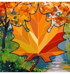 orange maple leaf on autumn background vector image