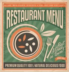 Retro restaurant menu poster design vector image vector image
