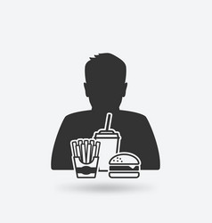 teenager boy with fast food vector image