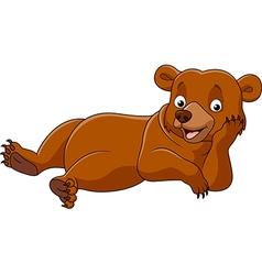 Cartoon bear lazy isolated on white background vector image