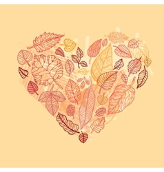 Heart of the Autumn leaves vector image