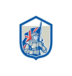 Knight Holding British Flag Shield Retro vector image vector image