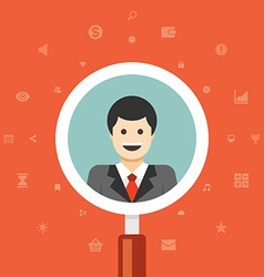 Magnifying glass zoom business man vector image vector image
