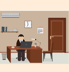 office room design interior with employee vector image vector image