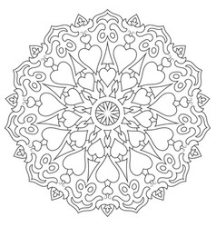 page coloring mandala with hearts isolated on vector image
