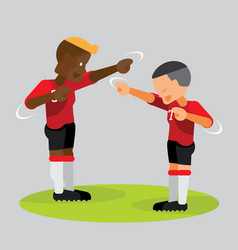soccer players partner celebrating with dab vector image vector image
