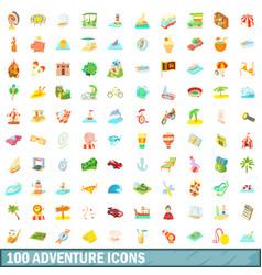 100 adventure icons set cartoon style vector image