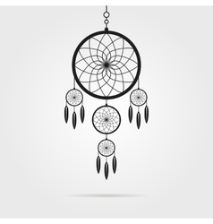 black dream catcher icon with shadow vector image