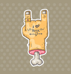 cartoon hand with tattoo vector image vector image
