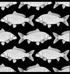 Graphic carp pattern vector