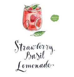 refreshing drink with strawberry and basi vector image