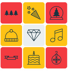 set of 9 christmas icons includes celebration vector image