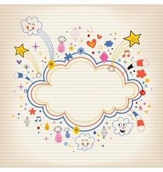 star bursts cartoon cloud shape banner frame lined vector image vector image