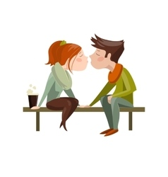 Young couple kissing on bench vector image vector image