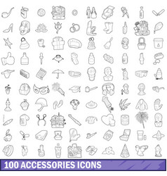 100 accessories icons set outline style vector image