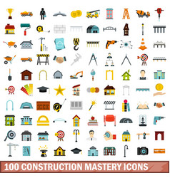 100 construction mastery icons set flat style vector image