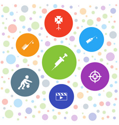 7 shot icons vector