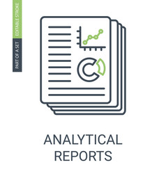 analytical reports icon with outline style vector image