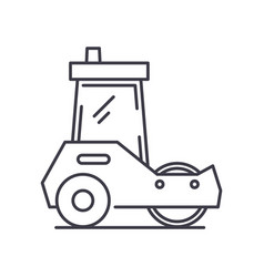 Asphalt paver concept icon linear isolated vector