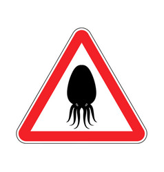 attention cuttlefish octopus on red triangle road vector image