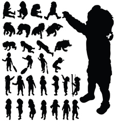 baby cute posing black silhouette vector image