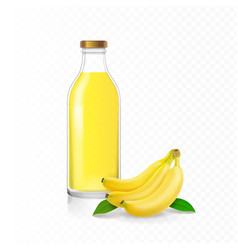 banana juice in glass bottle vector image