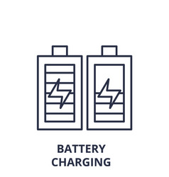 battery charging line icon concept battery vector image