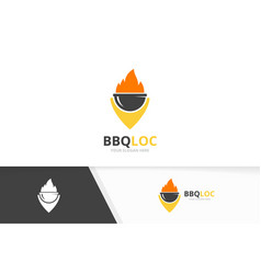 bbq and map pointer logo combination grill vector image