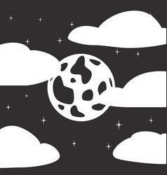 black and white style icon of full moon stars vector image