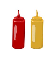 bottle of mustard and ketchup cartoon vector image