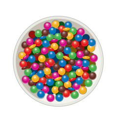 Bowl with mm candies vector