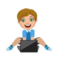 Boy playing video games on lap top part kids vector