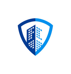 building cityscape shield secure business logo vector image