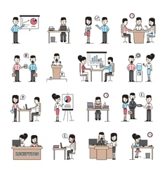 Business people workplace icons set vector